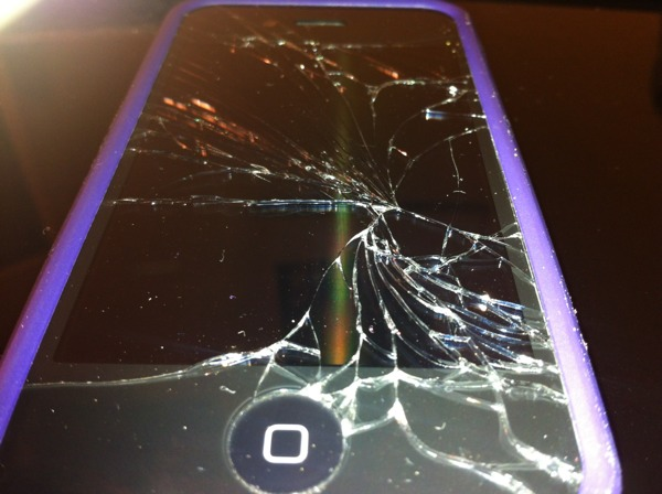 A broken iPhone screen